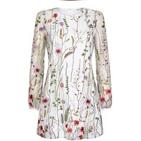 Yumi Curves Sheer Floral Embroidered Dre