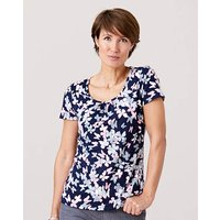 Butterfly Print Jersey Round Neck Top
