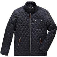 Jacamo Navy Quilted Jacket Reg
