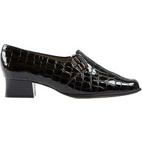 Edith - Black Patent Croc