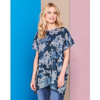 Blue Floral Ruched Back Top