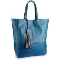 Animal Skin Teal Shopper Bag