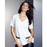 V-Neck Zip-Trim Top