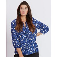Blue Floral Pleat-Detail Blouse