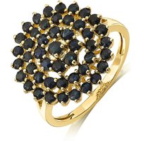 9 Carat Gold Black Sapphire Cluster Ring