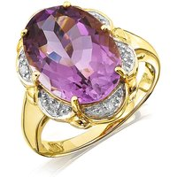9ct Gold Amethyst & Diamond Ring