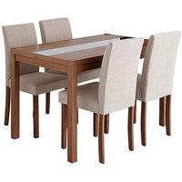 Oakham Glass Panel Dining Table 4 Chairs