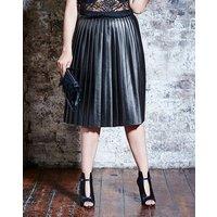PU Pleat Midi Skirt