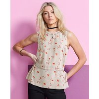 Stone Ladder Insert Top With Peplum Hem