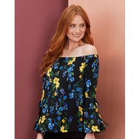 Black Print Flared Sleeve Bardot Top