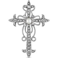 Mood Crystal And Pearl Cross Brooch