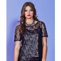 Simply Be Metallic Lace Shell Top