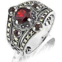 Garnet and Marcasite Vintage Look Ring