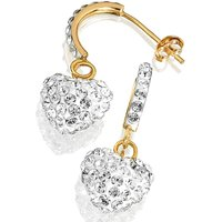 Crystal Glitz 9Ct Gold Heart Earrings