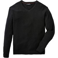 Black Label V Neck Textured Fine Knit