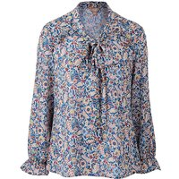 Ditsy Print Frill Tie Neck Blouse