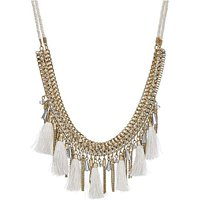 Mood bead and tassel collar necklace