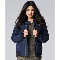 Navy Padded Bomber Jacket