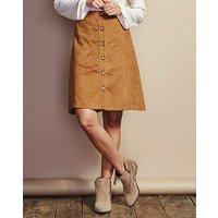 Button Suedette Skirt