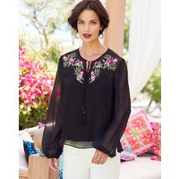 Black Embroidered Yoke Crinkle Blouse