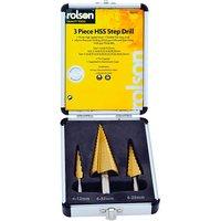 Rolson 3pc Titanium Step Drill Set