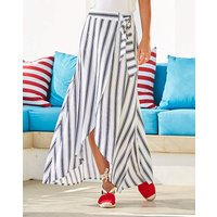 Mock Wrap Tie Waist Stripe Skirt