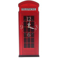 Red Telephone Box Shaped Picture Clock
