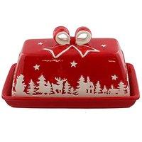 Dolomite Christmas Scene Butter Dish