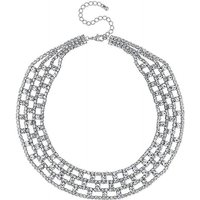 Mood Silver Diamante Collar Necklace