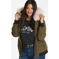 Coloured Faux Fur Trim Bomber