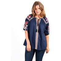 Koko Navy Embroidered Tie Front Blouse