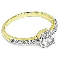9CT Yellow Gold Diamond and Topaz Ring