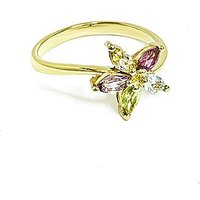 9ct Yellow Gold Multi Stone Flower Ring