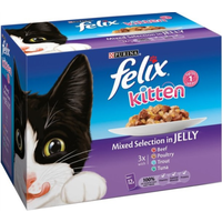 Felix Mixed Selection In Jelly Pouch Kitten Food 100g x 12