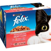 Felix Mixed Selection Meaty Loaf Pouch Cat Food 100g x 12