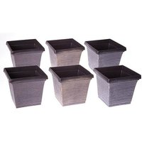 Set of 6 square outdoor planters 19cm metallic look