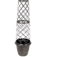Tower Pot Planter & Trellis 1.2M tall Black & Gold