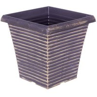 "10"" Tall Tapered Square Planter in Black & Gold H003"