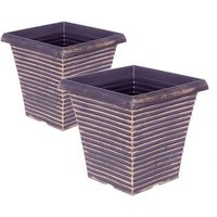 "Pair of 10"" Tall tapered Gold metallic planters"