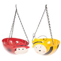 "Pair Wobblehead Metal Hanging Baskets 11"" 28cm - Bee & Ladybird"