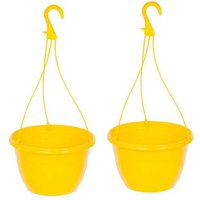 "Pair Yellow Hanging baskets 11"" (27cm)"