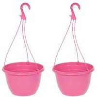 """Pair Pink Hanging baskets 11"""" (27cm)"""