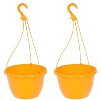 "Pair Orange Hanging baskets 11"" (27cm)"