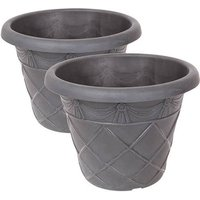 Pair of Tuscany Roma 34cm Ebony Grey Planters