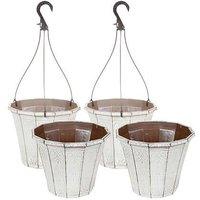 Set of 4 Callista Round Planters and Baskets 25-30cm (10-12i