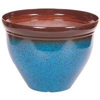 Ceramic Look Planter 39.5cm (15.5in) Mottled Blue