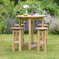 BAHAMA LARGE ROUND TABLE AND 4 STOOL SET