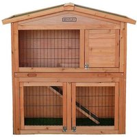 'Charles Bentley Pets Large Wooden Rabbit Guinea Pig Hutch 2 Tier House Built In