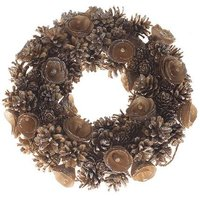 Gold Glitter & Cone Everlasting Wreath 30cm