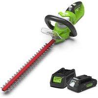 Greenworks G24HT54K2 24V Cordless Hedge Trimmer with battery
